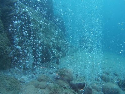Bubbles underwater Halkidiki Loutra thermal